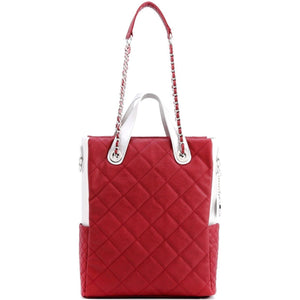 SCORE!'s Kat Travel Tote for Business, Work, or School Quilted Shoulder Bag - Maroon and Silver