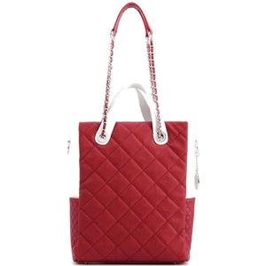 Kat Travel Tote - Maroon and White