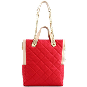 SCORE!'s Kat Travel Tote for Business, Work, or School Quilted Shoulder Bag - Red and White