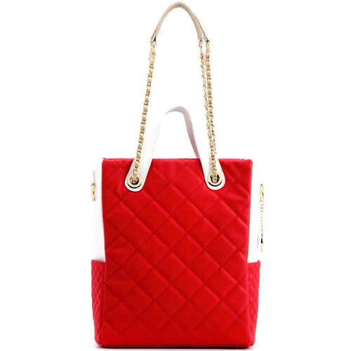 SCORE!'s Kat Travel Tote for Business, Work, or School Quilted Shoulder Bag- Red, White and Gold