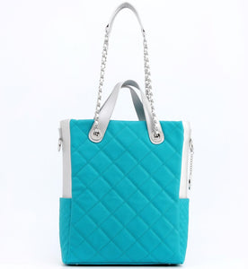 SCORE!'s Kat Travel Tote Multi-function Business Work College Teacher Computer Laptop Shoulder Cross-body Top Handles Quilted Bag - Turquoise and Silver Zeta Tau Alpha Miami Dolphins