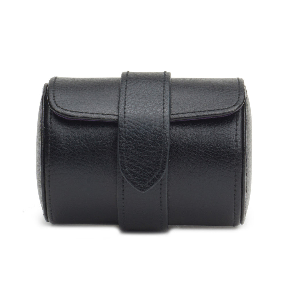 Blake Leather Single Watch Roll - Black Pebble