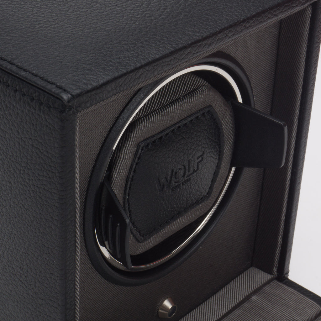 Wolf Cub Watch Winder Box with Cover - Black