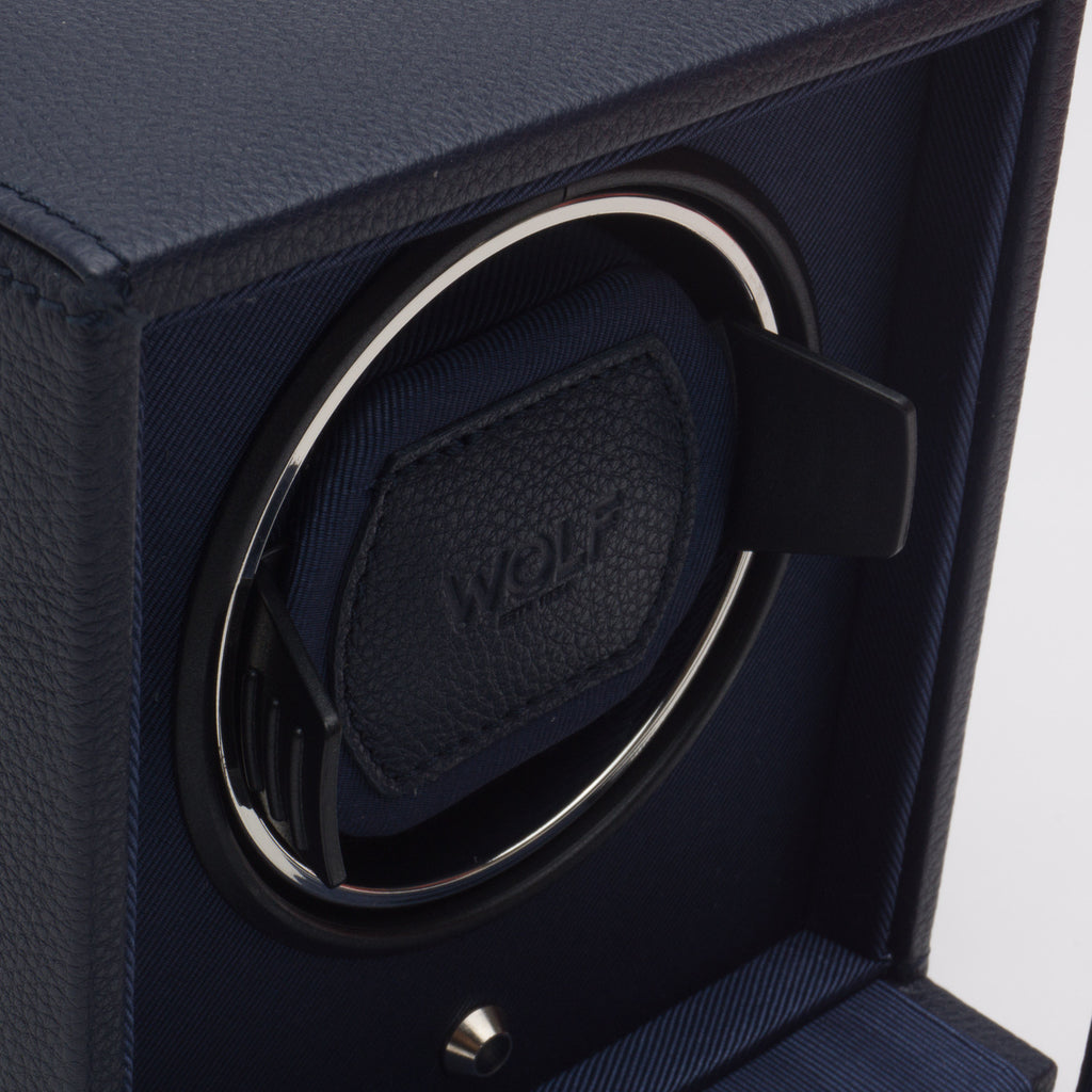 Wolf Cub Watch Winder Box with Cover - Navy