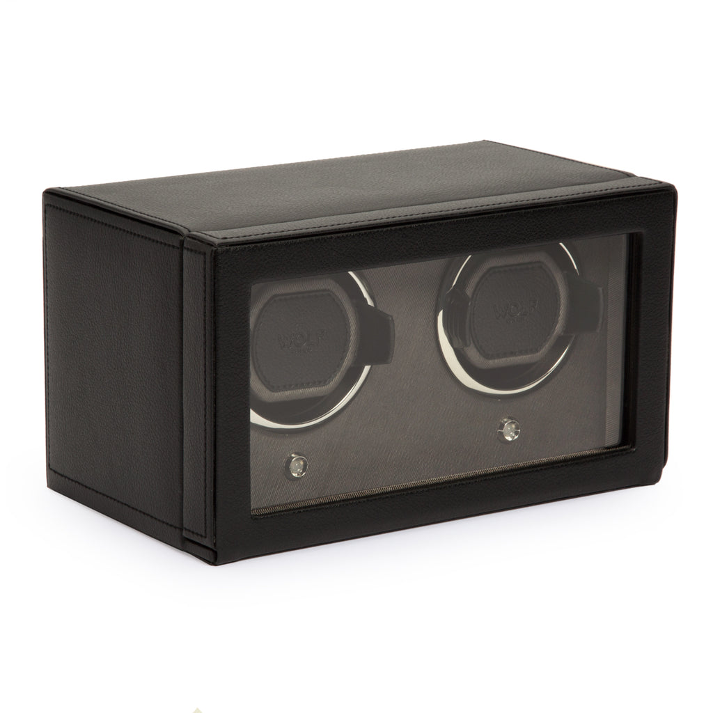Wolf Cub Double Watch Winder with Cover - Black
