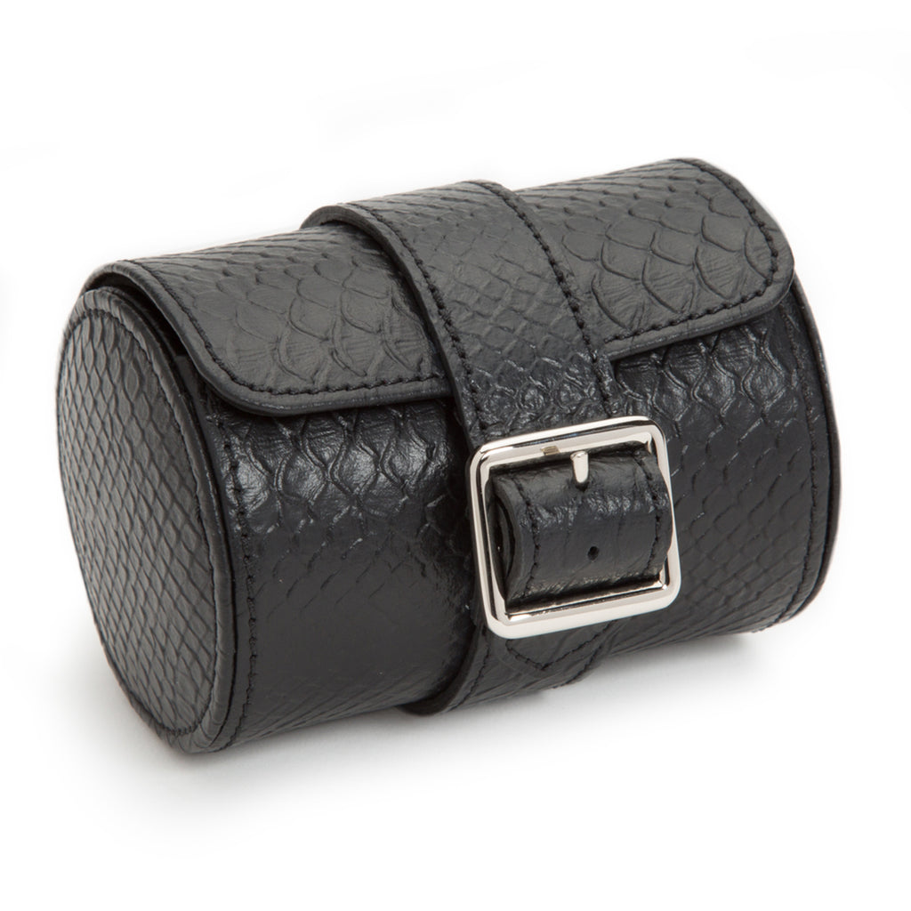 Wolf Exotic Single Watch Roll - Black
