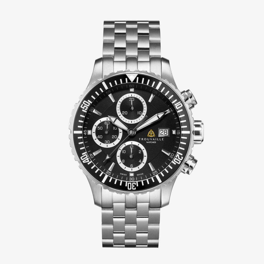Black Stainless Steel Captain Chronograph Automatic Watch