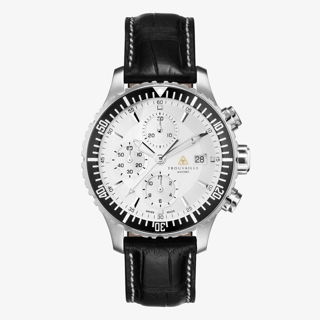 White Captain Chronograph Automatic Watch