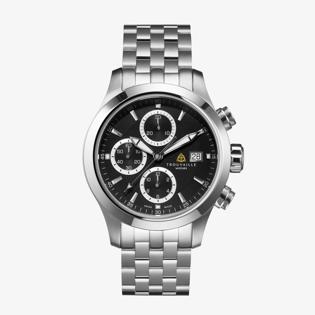 Black Stainless Steel Pilot Chronograph Automatic Watch