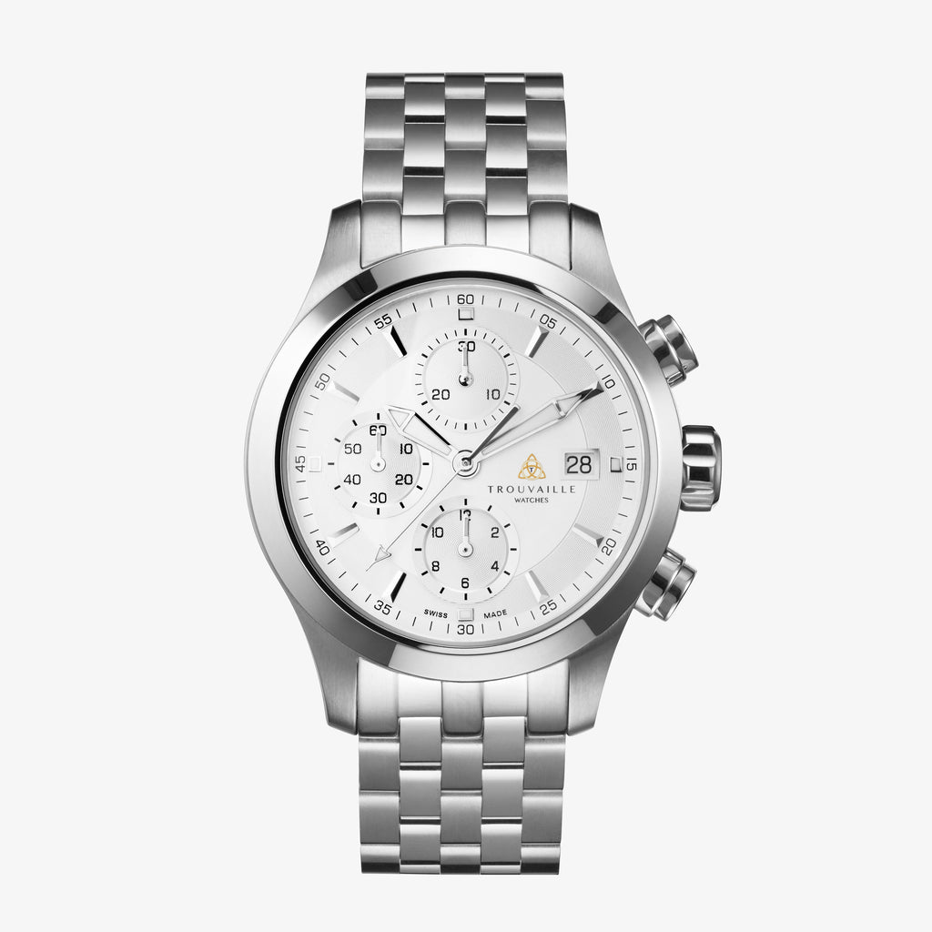 White Stainless Steel Pilot Chronograph Automatic Watch