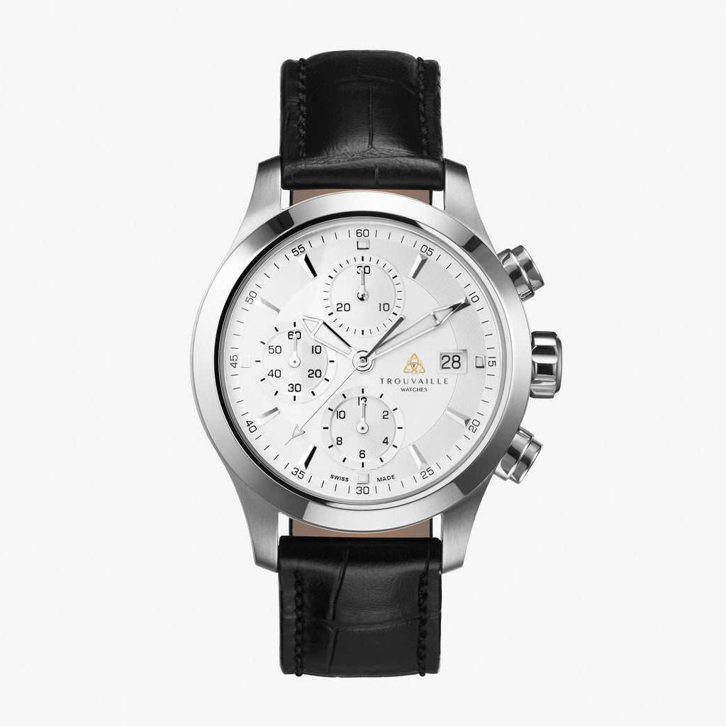 White Pilot Chronograph Automatic Watch