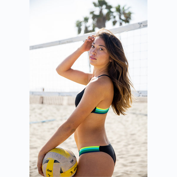 reversible sport bikini bottom california coverage black mint multicolor strap El Matador beach volleyball surfing Pepper Swimwear active beach lifestyle