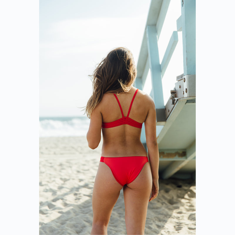 reversible bikini top v back sport athletic red coral el matador beach volleyball surfing Pepper Swimwear