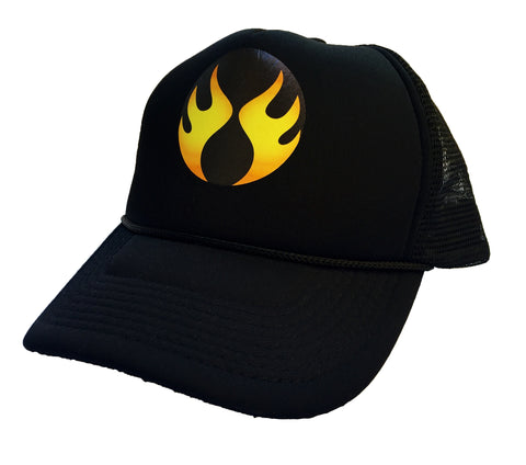 Pepper Swimwear Flame Logo Trucker Hat - Black