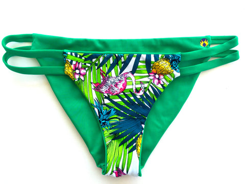 Double Strap Reversible Bikini Bottom - Green/Palm (Huntington)