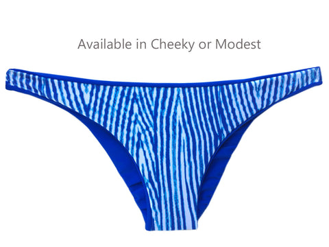 Reversible Sport Bikini Bottom, Cheeky or Modest - Sapphire/Woodgrain (Sunset)