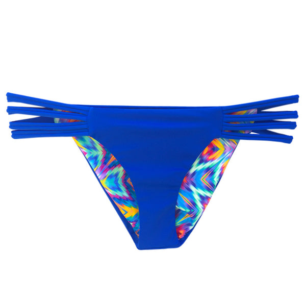 reversible sport bikini bottom california coverage moderate sapphire feather El Matador beach volleyball surfing Pepper Swimwear active beach lifestyle