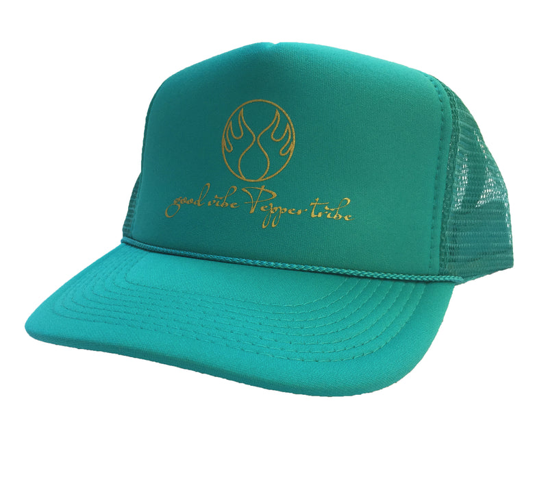Good Vibe Pepper Tribe Trucker Hat polyester foam front snap back beach volleyball otto cap jade green gold active beach lifestyle