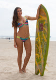 bikini top reversible athletic V-back black Mexican blanket print serape neon lime straps