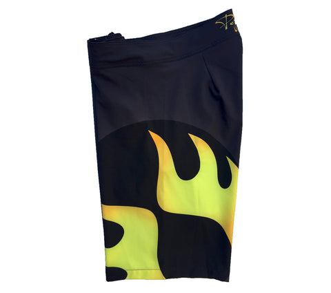 Pepper Swimwear Men's Boardshort - Black/Large Abstract Flame Logo