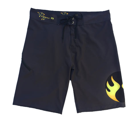 Pepper Swimwear Men's Boardshort - Black/Small Flame Logo