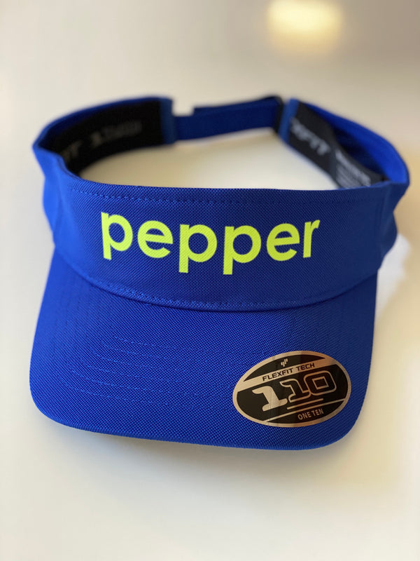 pepper sport visor royal with neon yellow, elastic band, hook and loop closure