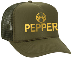 PEPPER Trucker Hat - Olive/Gold