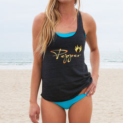 Pepper Swimwear tri-blend racerback tank top ultra solft charcoal grey beach volleyball volleyball gift holiday gift idea