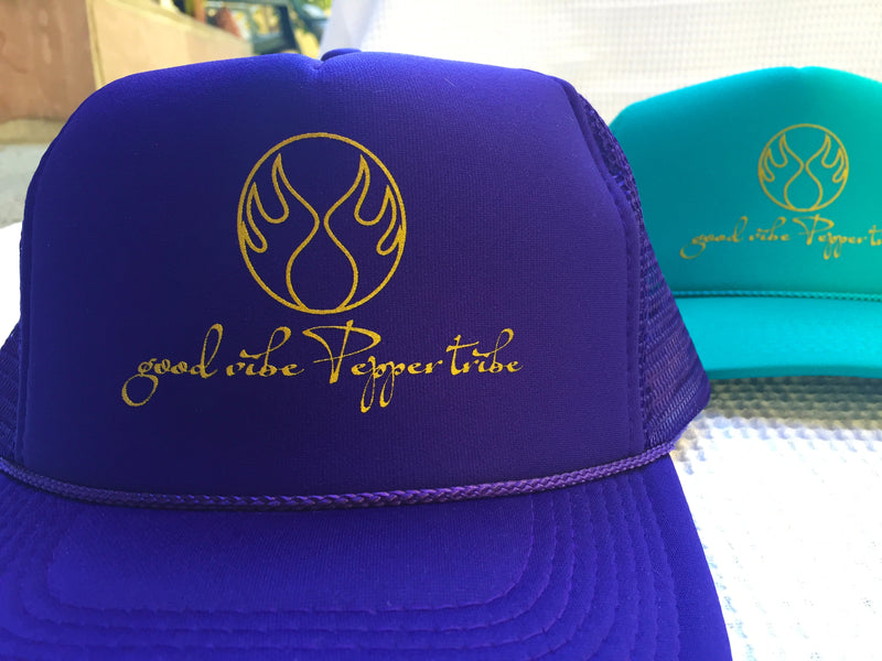 Good Vibe Pepper Tribe Trucker Hat polyester foam front snap back beach volleyball otto cap purple gold active beach lifestyle
