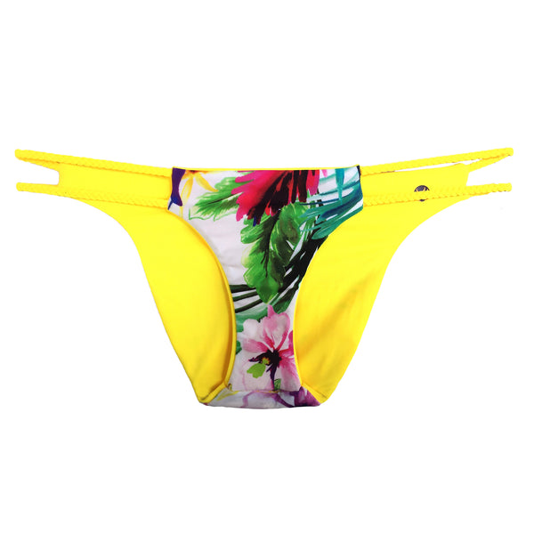 reversible sport bikini bottom yellow floral print braid East beach volleyball surfing Pepper Swimwear active beach lifestyle