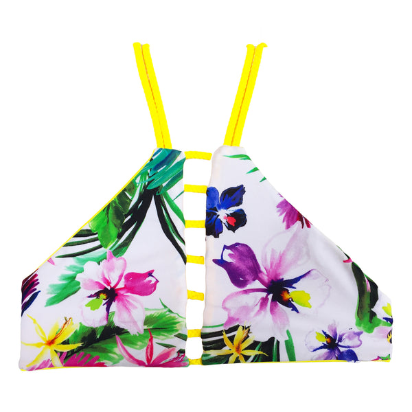 reversible athletic bikini top high neck yellow floral East Beach braid strap beach volleyball surfing yoga Pepper Swimwear