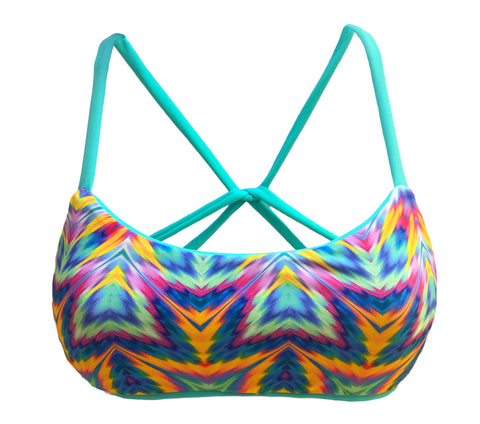 Cross Back Reversible Sport Bikini Top - Yellow/Floral (Sunset)