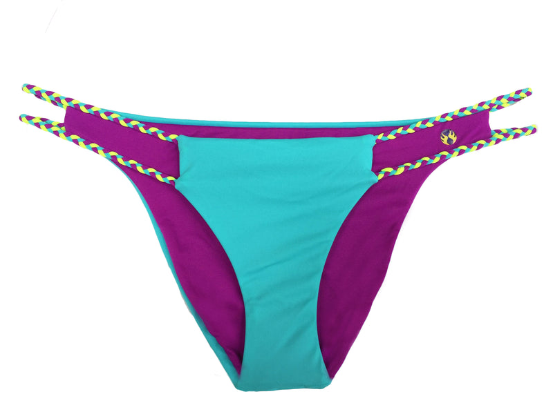 reversible sport bikini bottom Cabo turquoise fuchsia braid East beach volleyball surfing Pepper Swimwear active beach lifestyle