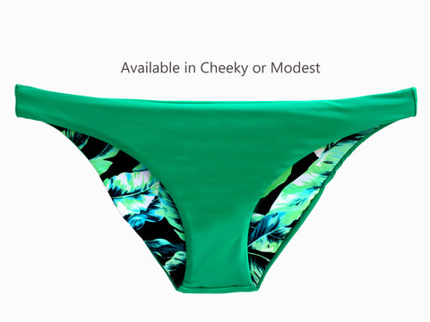 Reversible Sport Bikini Bottom, Cheeky or Modest - Green/Leaf (Sunset)
