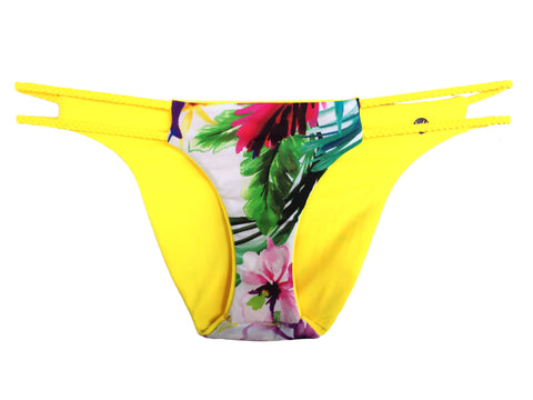 Reversible Sport Bikini Bottom, Cheeky or Modest - Yellow/Floral (Sunset)