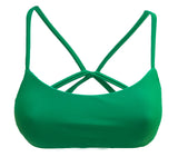 reversible sport athletic bikini top cross back green leaf adjustable Sunset Pepper Swimwear sports bra beach volleyball surfing