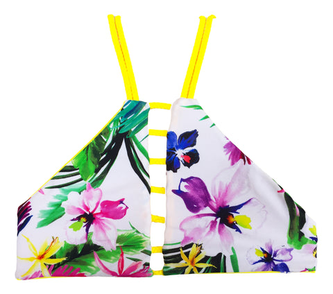 High Neck Reversible Bikini Top - Yellow/Floral (East Beach)