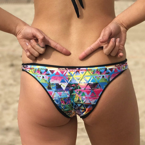 reversible sport bikini bottom cheeky mid rise black custom beach lifestyle Pepper print Sunset beach volleyball surfing Pepper Swimwear