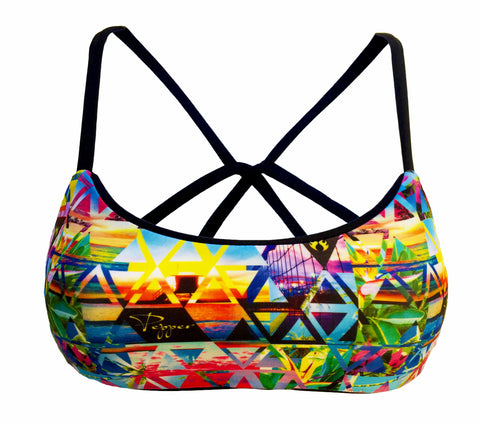 Cross Back Reversible Sport Bikini Top - Black/Pepper (Sunset)