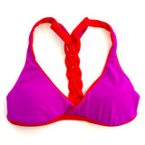 bikini top reversible athletic braided t-back red fuchsia beach volleyball surfing