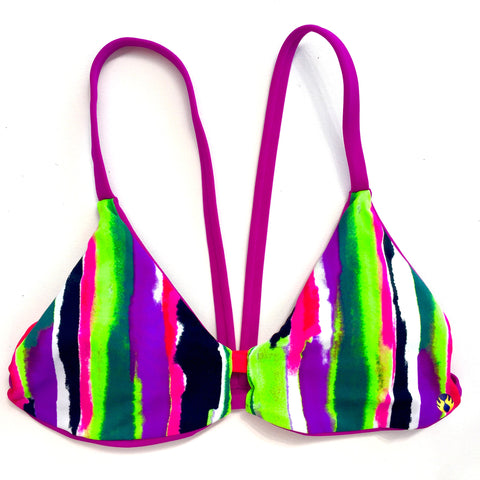 V-Back Reversible Bikini Top - Fuchsia/Multicolor Stripes (Huntington)