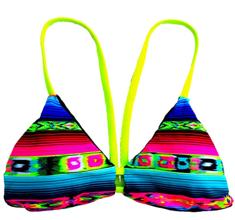 V-Back Reversible Bikini Top - Black/Mexican Blanket (Huntington)