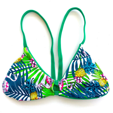 V-Back Reversible Bikini Top - Green/Palm (Huntington)