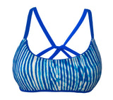 reversible sport athletic bikini top blue woodgrain cross back adjustable sunset Pepper Swimwear