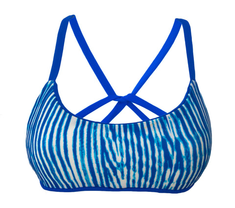 Cross Back Reversible Sport Bikini Top - Sapphire/Woodgrain (Sunset)