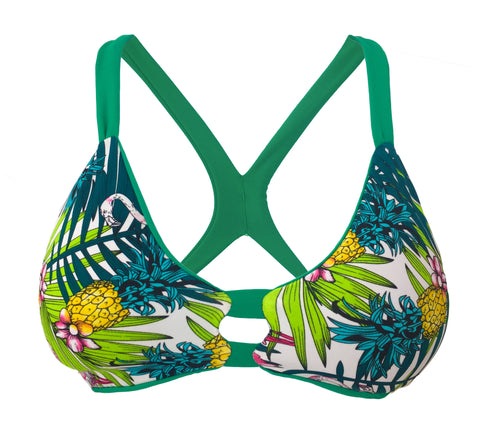 T-Back Reversible Bikini Top - Green/Palm (Manhattan)