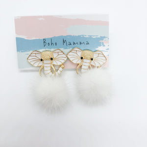 Boho Mamma Enamel Elephant with fur Earrings in White
