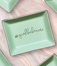 Load image into Gallery viewer, Girl Be Brave Green and Gold Ceramic Tray