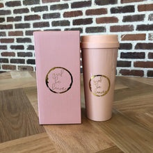 Load image into Gallery viewer, Girl Be Brave Pink Thermal Mug
