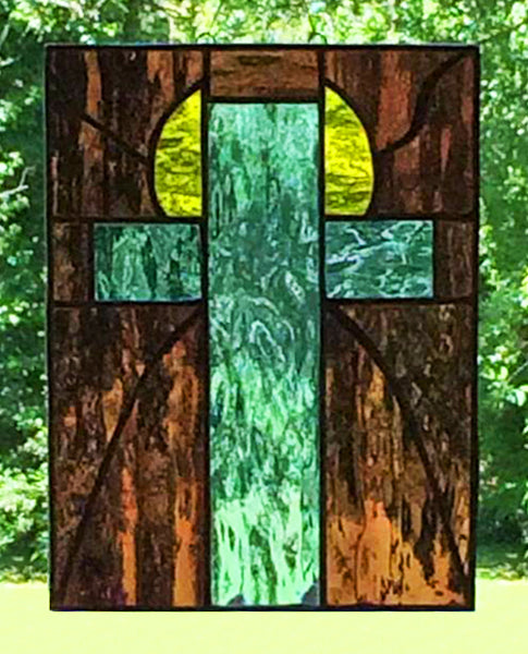 Stained Glass Sunrise Angel Cross